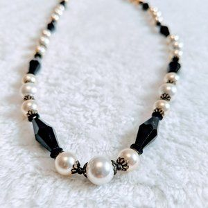 Sherman White Pearl and Black Bead Necklace